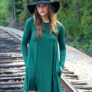 Teal Piko Swing Dress